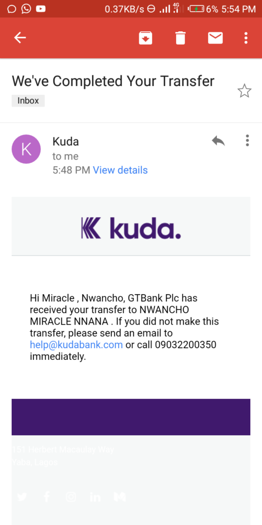 Kuda App Earning Proof